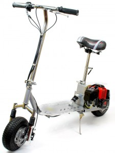 """Meet the 49cc petrol scooter. We have upgraded this fast model with front dual shock suspension and aluminium tuned exhaust. Other features include 9"""" pneumatic air filled tough tires, Aluminum Mag wheels, front and rear vented disc brakes and easy fold-able design. This scooter is super strong, it's frame is made of high tension steel and a large standing deck made of high grade lightweight Aluminium with a machined logo. This petrol powered scooter is fantastic value, great fun and travels up to very nippy 35KM/h."""