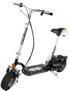 Our highest spec micro petrol scooter. This model is feature packed with front and rear shocks, extra thick aluminium deck, front and rear mud flaps, adjustable folding seat and many more features not found on other scooters. The 49CC engine with safety cut off switch on the handlebars is powerful pushing the scooter to speeds of 35 Km/H. ONLY £249.98