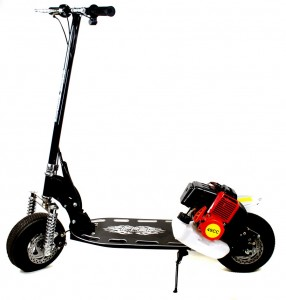 """This fast deluxe version micro petrol scooter is packed with features and travels at 30KM/h, it's features include over sized solid aluminium deck with machined logo, large 9"""" pneumatic air filled tough tyres, aluminum mag wheels, front and rear vented disk brakes, billet aluminum racing handle bars, easy fold-able design and a super strong high tensile steel frame. It has now also been upgraded with suspension. This scooter is a high quality solid built petrol powered scooter that is great fun. One word sums it up for this model and that is AMAZING! ONLY £229.99"""